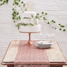 Birthday parties decoration online shopping - NEW Design Rose Gold Silver Sequin Table Runner Wedding Decoration Sparkly Tablecloth Birthday Party Event Bling Table Supplies