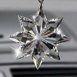 car chandelier 2019 - 80mm Crystal Snowflake prism Pendant For chandelier part FengShui Hanging Crystal Crafts Gifts,Car & Home decoration dis