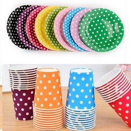 Plates set disPosable online shopping - Color Dot Disposable Paper Plates Dessert Plates and Paper Cups Set for Bridal Baby Shower Wedding Anniversary Engagement Birthday Party