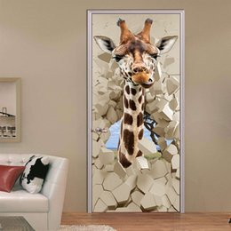 giraffe decorations NZ - 2Pcs Set 3D Wear Wall Giraffe Door Stickers Living Room Bedroom Door Renovation Self-Adhesive Wall Sticker Decoration Wallpaper Poster