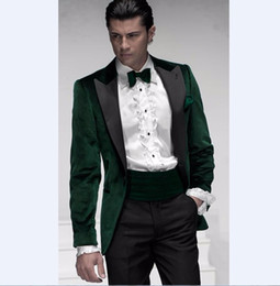 Discount men wedding beautiful suits - One Button Green Velvet Groom Tuxedos Beautiful Men Formal Suits Men Wear Wedding Prom Dinner Suits Custom Made(Jacket+P
