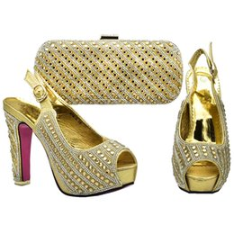 New Arrival African Matching Wedding Shoes and Bags Italian In Women Shoes  and Bag Set Decorated with Rhinestone Shoes and Bags 0cc30c840190