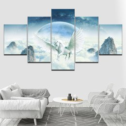 China 5 Panel Wall Art Picture Modern Home Decoration Flying Horse Canvas Painting HD Print Kids Room Poster Animal Painting No Frame suppliers