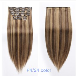 Discount inch clip hair extensions - Human Hair Extensions Clip in P4 27 color 18 inch 150g set Remy Straight Real Hair for Fine Hair Full Head