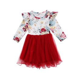 Chinese  Girls Dress Christmas Clothing Kids Floral Lace Tutu Dresses Fashion Girl Long Sleeve Princess Party Dress Red Color 5 P l manufacturers