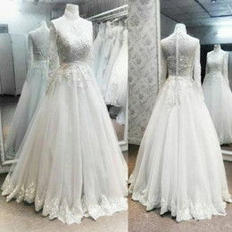 $enCountryForm.capitalKeyWord Australia - Vintage Full Lace Muslim Wedding Dresses 2018 Sheer Long Sleeves Covered Buttons Back Sweep Train Plus Size Garden Country Bridal Party Gown