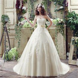 Toptan satış Toptan sevgiliye geri lace up Exposed Boning süpürme tren CYH000030235 ile basit elbise Balo Gelinlik