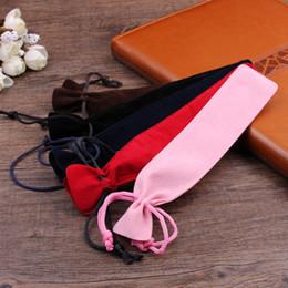 Sets Velvet NZ - QSHOIC 100pcs set Crystal Pen Velvet Pen Bag Pencil Beam Thick Flannel Double-sided Multi-color Gift Velvet Bags for Crystal