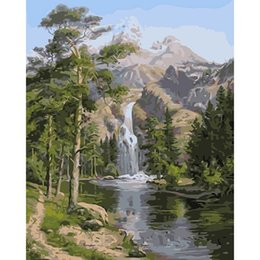 oil paint number framed UK - pictures by numbers on canvas Forest waterfall Scenery coloring kit paintings by numbers with acrylic posters