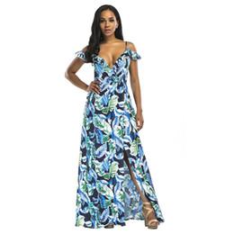 f109cfdb9 Women Off the Shoulder Maxi Dress Spaghetti Straps Ruffles Elegant Beach  Dress Deep V Neck High Slit Open Back Dress Vestidos