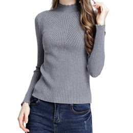 4bcaafe33e Black Ribbed Turtleneck Sweater Australia - Knitted Sweaters Women Korean Jumpers  Sweaters Fashion 2018 Ribbed Top