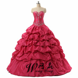 hot necked girl photo UK - Hot Pink Debutante Sweet 16 Girls Masquerade Ball Gowns Sequin Embroidery Vestidos De 15 Anos Quinceanera Dresses
