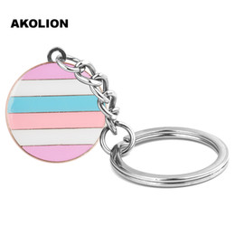 lgbt ring NZ - LGBT Intersex Pride Round Key chain Metal Key Ring Fashion Jewelry for Decorative