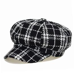 blue felt hat 2019 - Autumn Vintage Hats Women Octagonal Cap Autumn Winter Black White Felt Hats For Women Vintage Thick Female Newsboy Cap C