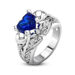 Discount blue gem engagement rings - whole saleFashion Creative Skull Ring Blue Gem Zircon European and American Punk Style Jewelry Engagement Ring