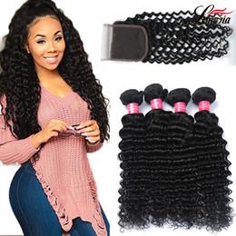 Discount hair brazilian - 8a Brazilian Deep Wave Hair 4 bundles With Closure Wholesale Unprocessed Human Hair Extension 3 4 Bundles Deep Wave Virg