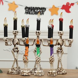 Flameless candles timer online shopping - 3pcs set Halloween Skull LED Candles Flameless Timer candle Battery Operated Electric Lights Flickering Tealight Halloween props