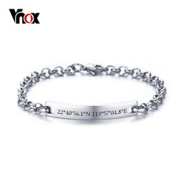 Gps Steel Australia - Vnox Classic Bracelets for Women Customize GPS Location Coordinate Female Jewelry Stainless Steel Link Chain Unique Lover Gift