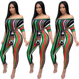 80d292b0d522 Women striped Jumpsuit rompers Off Shoulder long sleeve jumpsuit sexy  skinny slim strapless rompers women designer fall winter clothes sale