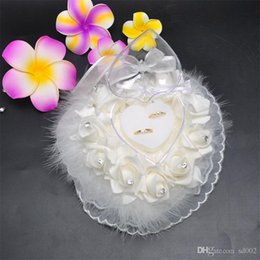 White Rose Crafts Australia - Heart Shape Rose Flower Pillow Lace Originality Ostrich Hair Wedding Ring Storage Box Articles White Pure Color 15 68bt bb