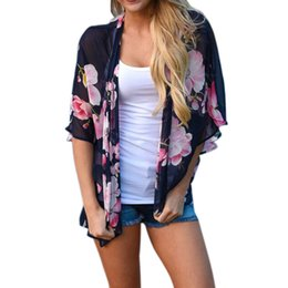 beach shawl sleeves 2018 - New style kimono women blouses Floral Print Beach Chiffon Loose Shawl Kimono Cardigan crop Top Cover Blouse blusa femini