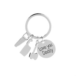 $enCountryForm.capitalKeyWord NZ - Love you Daddy Repair Tools Keychain Screwdriver Hammer Spanner Charm Key Chain Ring for Dad Key Finder Fathers Day Gift
