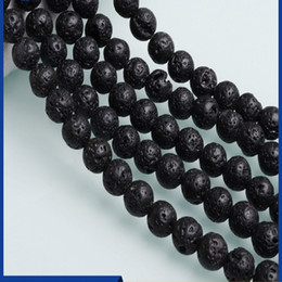 $enCountryForm.capitalKeyWord NZ - 4 6 8 10 12 14MM Black Natural Volcanic Rock Basalt Beads with Small Round Surface & Small Holes Lava Beads Jewelry Accessories