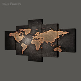 $enCountryForm.capitalKeyWord Australia - WALL COOING home decor painting calligraphy world map picture waterproof canvas HD print 5pcs black design art Y18102209