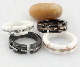 Steel Ceramic Diamond Ring UK - New Arrival Fashion Lady 316 Titanium Steel Black White Ceramic Setting Diamond Wedding Engagement 18K Gold Plated Narrow Rings Size6-11