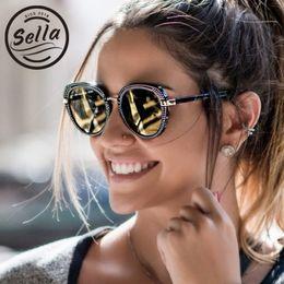 d27cec2f409 Sella Fashion Retro Women Small Frame Sunglasses Korean Style Popular Ladies  Nail Decoration Mirror Lens Cateye Sun Glasses