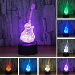 Discount child guitars - New Visual Lampada 3D Fashion Bass Music Electric Guitar Night Light LED Blub Switch Touch Remote Child Kids Xmas Birthd