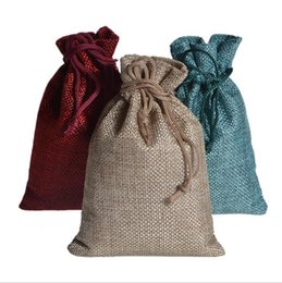 Discount boutique paper gifts bags - Burlap Drawstring Gift Bags Cotton Linen Packaging Bag Party Favors Sacks Party Boutiques Wrapping Supplies 12 Colors YW