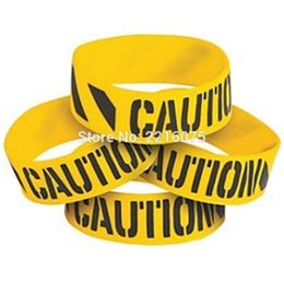 $enCountryForm.capitalKeyWord NZ - 300pcs one inch construction party caution print silicone wristband racelets free shipping by DHL express