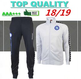 Wholesale 2018 Napoli football tracksuit MERTENS Hamsik Insigne Callejon Zielinski Naples white and black Soccer jacket set sweater
