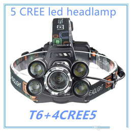 headlamp highest lumens NZ - Brand designer 5 LED Headlight 15000 Lumens Cree XM-L T6 Head Lamp High Power LED Headlamp +2pcs 18650 Battery +Charger+car charger