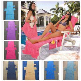 215 * 75 CM Praia Espreguiçadeira Covers Festa de Verão l Microfibra Duplo Velvet Sunbath Espreguiçadeira Cadeira De Praia Toalhas KKA4475