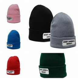 ca6354189cbc84 Soccer beanie hatS online shopping - 6 Colors Keep America Great Knitted  Caps Teenager Winter Warm