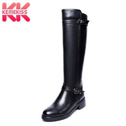 bdbecd51f1af44 LebaLuka taille 33-43 femmes cuir véritable style britannique plat sur  bottes au genou équitation longue chaussure marque chaussures chaussures  R8031