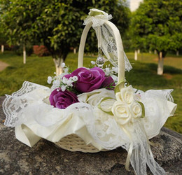 Discount baskets flowers - Lace Wedding Flower basket Flower Petal Fruit Basket Simulation petals Wedding Supplies Lace Ribbon Bamboo Basket