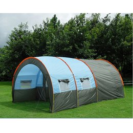 Discount living tents - 10persons large family tent camping tent tunnel tent 1Hall 2room outdoor travel party tent equipment