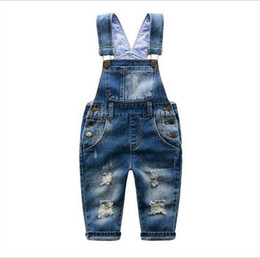 Jeans kids suspenders boys online shopping - 2 T Brand Kids Jeans Boys Girls Denim Overalls Child Suspender Jeans Pants Casual Fashion Children Overall Jeans Hole Retail