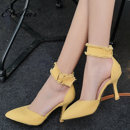 1caf4268f47c9 wholesale NEw Fashion High Heels Shoes sexy party Women Shoes Chaussure  Femme Denim High-Heeled pointed toe buckle Sandals 32-43