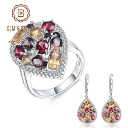 Jewelry & Accessories Original Gems Ballet Natural Smoky Quartz Citrine Gemstone Drop Earrings Ring Sets Pure 925 Sterling Silver Jewelry Set For Women Fine