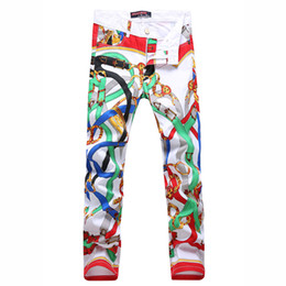 2018 Belt Buckle Print Mens Jeans Brand Denim Skinny Tights Slim Fit Biker Jeans Hombres Stretch Cotton Male Designer Pencil Pants