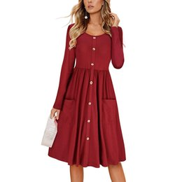 Wholesale 2019 Summer Fashion Long Sleeve Dress Fall Women Skirt Casual Dresses Ladies Button Pocket Neck Ties Short Sleeve One piece Dress UK
