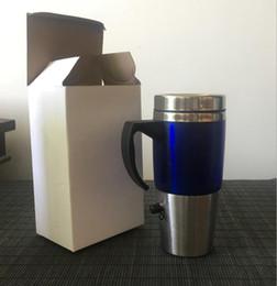 Coffee mug Cup usb online shopping - Heated Travel Mug Car Electric Cup ML USB Car Coffee Drinks Thermos Thermal Insulated Mug Kettle LJJO4585