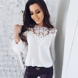 Discount types blouses - Women Lace Stitching Chiffon Blouses Loose Type O neck Blouse Shirts Solid Color Long Sleeve Women Summer Blouse Lace Se