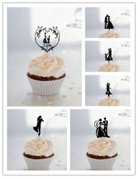 cupcakes mix Australia - Mixed Style Bride and Groom Cupcake Topper Black acrylic cupcake topper for Cupcake Decorations Wedding Decorations 24pcs lot