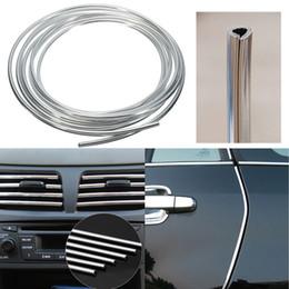 interior chrome trim strips 2019 - 4M PVC Silver Car Interior Decorative Decoration Door Chrome Moulding Trim Strip U Style discount interior chrome trim s