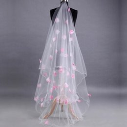 $enCountryForm.capitalKeyWord NZ - Elegant White Pink Petalage Cathedral Lace Wedding Veil No Comb For Bridal Gown Cheap Price Bridal Veils 2018